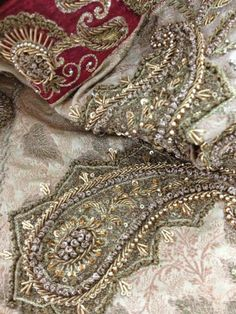 Embroidered at the CHERRY WRAP studio. Handwork using dabka,naqshi,tilla,resham and sequins. Pakistan Wedding, Zardozi Embroidery, Bridal Collection, Wedding Ceremony, Embellishments, Karachi Pakistan, Sequins, Quilts, Pearls