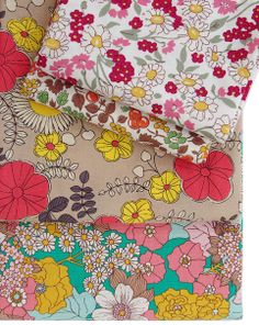Floral Fabrics - medium and small scale retro feel Floral Fabric, Cotton Fabric, Vintage Prints, Retro Vintage, Retro Floral, Fabulous Fabrics, Fabric Wallpaper, Fabric Patterns, Pattern Design