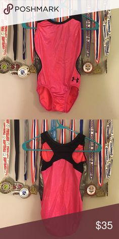 Gymnastics leotard under armor Pink under armour leotard only worn a couple times for competition. In very good condition no holes rips or anything! Smoke free home but we do have dogs and cats Under Armour Other