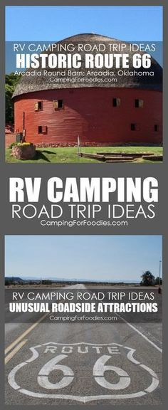 Road Trip! RV Camping Road Trip Ideas With Unusual Roadside Attractions! Some camp trips are short weekend getaways, others are full-fledged vacations. For our family, camping trips are about the journey as much as the destination. When planning your next trip, allocate some time to stop along your route. Here are a few ideas to experience a bit of Americana! #camping #road #trip #unusual #roadside #attractions #rv #road #trip #ideas #route #66 #vintage #Historic #Round #Barn #Arcadia…