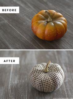 How to make DIY Fabric Tape Pumpkins for #fall home decor   upcycledtreasures.com #rustic #plaid