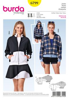 Burda Pattern: BD6799 Misses Sporty Jacket — jaycotts.co.uk - Sewing Supplies