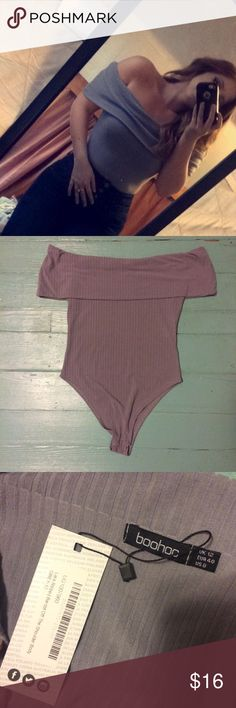 💟NWT Gray/Purple Bodysuit💟 Bought this from Boohoo, brand new with tags. Only worn for the photo. Snaps at the bottom. It's like a pretty gray/purple color. Super soft! It's too big around the chest for me. UK size 12, USA size 8 as shown on tag. Boohoo Tops