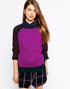 Shae Splatter Mix Stitch Jumper in Cotton Cashmere