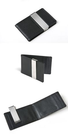 Men's Leather Money Clip Wallet and Card Holder