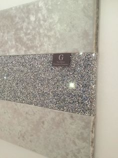 Luxury Crushed Velvet Silver With Stunning Silver Glitter Wall Art Large