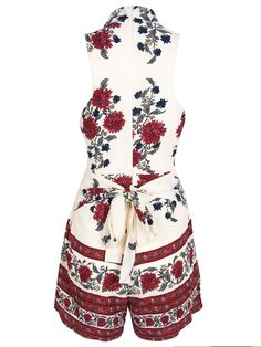 White and Red Floral Playsuit