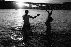 couple splashing each other playfully in the river rhine in Basel at sunset couple photoshoot ideas Camera Techniques, Sneaks Up, Something Else, Find Someone Who, Kiss You, Basel, Portrait Photo, Getting Out, Photoshoot Ideas