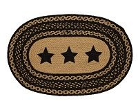 """Our Farmhouse Star 20x30"""" Oval Stencil Star Braided Rug is very charming with its stenciled stars.  This rug is tan and black , dyed, and hand constructed.  http://www.primitivestarquiltshop.com/Farmhouse-Star-20x30-Oval-Stencil-Star-Braided-Rug_p_6202.html"""