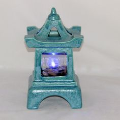 READY TO SHIP Blue Green Pagoda Candle Holder by aarceramics