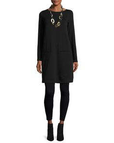 Eileen Fisher Clothing at Neiman Marcus Eileen Fisher Long-Sleeve Fleece Tunic Viscose Jersey Leggings, Black Tunic Dress With Leggings, Black Tunic Dress, Black Long Sleeve Dress, Winter Dress Outfits, Casual Outfits, Casual Dresses, Fashion Outfits, Outfit Winter, Eileen Fischer