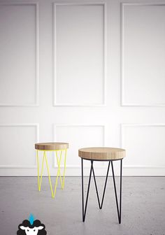 Base de hierro y tapa de madera lustrada Medidas : 29cm diametro / 42cm alto Colores base: Amarillo , Blanco o Negro  Consultanos stock