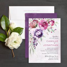 Cascading Florals Wedding Invitations by Emily Crawford | Elli