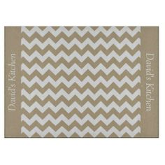 Khaki Tan Chevron Glass Cutting Board ................This design features a Khaki Tan Chevron pattern. The TEXT on both sides (left and right) can be customized with your own name. Check out my store for more colors.
