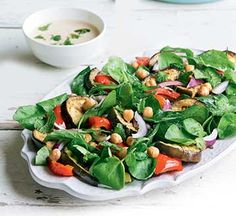 Griddled aubergine and chickpea salad with tahini dressing