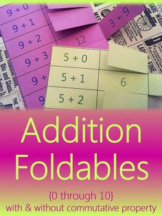 Addition foldables for students to master basic addition fluency! Perfect for interactive student notebooks, foldable flashcards, math centers, or homework addition facts practice. No more lost flash cards! Teaching Activities, Teaching Math, Teaching Themes, Teaching Resources, Addition Flashcards, Commutative Property, Mind Reading Tricks, Interactive Student Notebooks, 1st Grade Math
