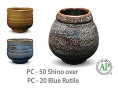 AMACO Potter's Choice layered glazes PC-20 Blue Rutile and PC-50 Shino.