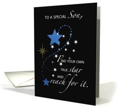 Son Graduation Star Congratulations, Blue and Black card