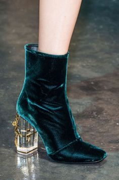 Report: Velvet Shoes Teal velvet boots with lucite embellished heels at Roberto Cavalli F/W velvet boots with lucite embellished heels at Roberto Cavalli F/W 15 Prom Shoes, Women's Shoes, Shoe Boots, Calf Boots, Boot Heels, Shoes Sneakers, Yeezy Shoes, Platform Shoes, Converse Shoes
