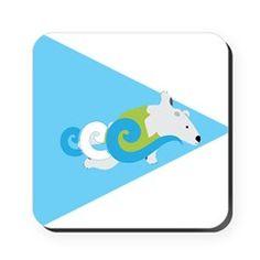 Swimming Polar Bear Triangle Arrow Cork Coaster