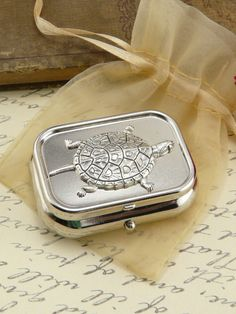 Turtle Pill Box Case Gift Present by QuaintandCurious on Etsy