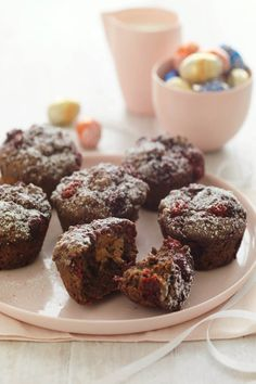 Raspberry And Chocolate 'Easter' Muffins  #CreativeGourmet #recipe
