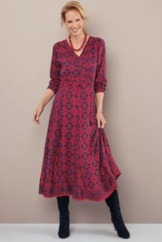 Rich colours and a flattering silhouette combine to create this stunning dress. ∙ Long sleeves · Pintuck mock wrap · Gathers above waist seam · Concealed side zip · Contrast border · 8 skirt panels · Formal Dresses Online, Formal Dresses For Women, Coraline, Stunning Dresses, Lily, Silhouette, Colours, Create, Winter