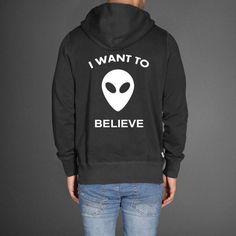 i want to believe alien black color Hoodies