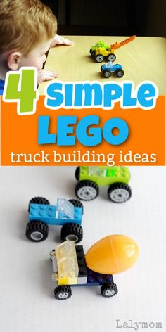 These 4 simple LEGO truck ideas are perfect for your little LEGO loving kid. LalyMom shows you which LEGO pieces you will need to make these trucks. Your kid will have fun making his own trucks. Lego Flower, Lego Truck, Lego Wall, Lego Challenge, Little Truck, Lego Builder, Boredom Busters, Fun Activities For Kids, Lego Activities