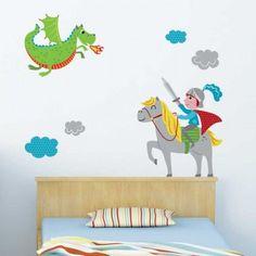 Sticker chambre enfant garçon Dragon et Chevalier