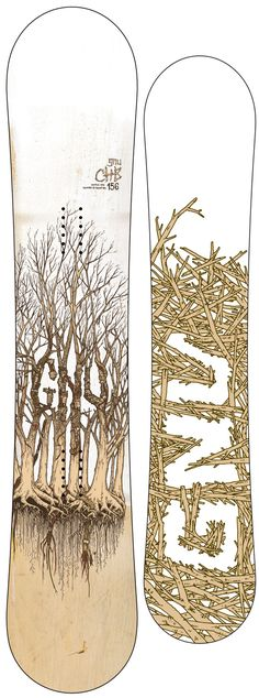 trees on a snowboard.