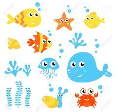 Conjunto de animales marinos. Dibujos animados. Fondo blanco.