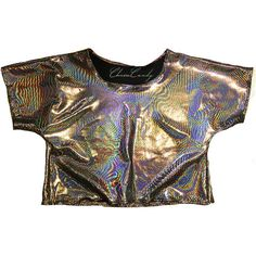 ChainCandy Hologram Holographic Relaxed T-shirt Women's Blouse Crop... (190 BRL) ❤ liked on Polyvore featuring tops, t-shirts, crop top, relaxed fit t shirt, relaxed tee, relax t shirt, hologram top and rainbow t shirt