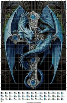 Dragon Cross Stitch, Fantasy Cross Stitch, Beaded Cross Stitch, Cross Stitch Animals, Cross Stitch Embroidery, Free Cross Stitch Charts, Cross Stitch Kits, Counted Cross Stitch Patterns, Cross Stitch Designs