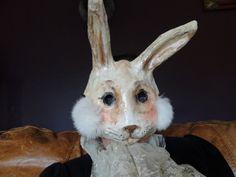 Paper animal masks Paper mache rabbit mask hare by MiesmesaBerni