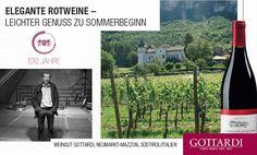 Es erwartet Sie ein vollmundiger, finessenreicher Wein von unserem eigenen Weingut in Neumarkt-Mazzon. Dieser Blauburgunder zeigt sich anmutig, mit ausgeprägter Pinot-Frucht, einer samtigen Fülle, guter Struktur und dezentem Tannin. Kurzum – eine bestechend charmante Kreation von Gottardi selbst. Red Wine, Italy, Summer, Blue