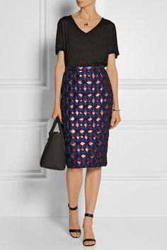 Burberry Prorsum  Metallic brocade pencil skirt