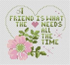 Think of your best friend, then make this great free cross stitch pattern for him or her! A Friend, free from Alita Designs!