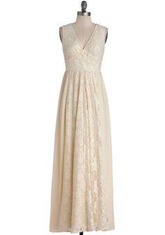 Crème de la Bohème Dress. Draped in this ivory maxi dress, you reach the pinnacle of boho beauty. #white #wedding #brideNaN