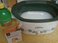 Crock Pot AirFreshener - water (probably 4-5 cups) and baking soda (about 1 heaping tbsp per cup of water). Optionally add:  a few drops of essential oil  sliced lemon (bottled lemon worked fine)  cinnamon stick  ground cinnamon and/or cloves  a few tsp of vanilla extract. Going to try this and get rid of the icky closed-up-for-the-winter smell!