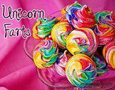 30 of the best Rainbow Cupcakes, Unicorn Poop, and Rainbow Cake Recipes. Rainbow recipes and unicorn recipes for St. Rainbow Food, Rainbow Cupcakes, Rainbow Desserts, Unicornio Birthday, Macarons, Yummy Treats, Sweet Treats, Unicorn Farts, Meringue Cookies