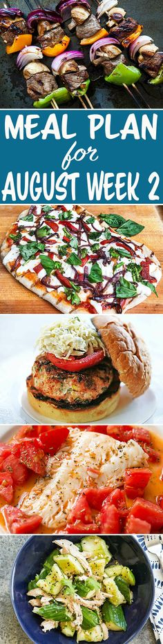 Here's your meal plan for August Week We've got Grilled Veggie Pizza, a Smashed Cucumber Chicken Salad, Spicy Turkey Burgers, and more! Spicy Turkey Burgers, Veggie Pizza, Recipe Organization, Simply Recipes, Good Healthy Recipes, Menu Planning, Chicken Salad, Meal Prep, Good Food