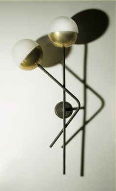 Anonymous; Glass, Brass and Painted Metal Wall Light by Stilnovo, c1950.