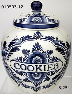 *BLUE FLORAL DELFT ~ Cookie Jar