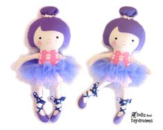 Ballerina Cloth Doll Sewing PDF Pattern Ballet Dancer Doll Clothes Tutu and Ballet Slippers included @ http://www.etsy.com/listing/78925290/ballerina-cloth-doll-sewing-pdf-pattern