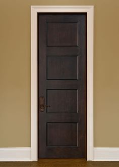 Interior Door, Single - Solid Wood with Espresso Finish, Artisan, Model Solid Single Mahogany Wood Interior Door with Flat Panels and no Raised Moulding that is pre-hung and pre-finished in an Espresso StainCustom Custom Exterior Doors, Wood Exterior Door, Interior Barn Doors, Fiberglass Entry Doors, Wood Entry Doors, Wooden Doors, Door Entry, Color Caoba, Modern