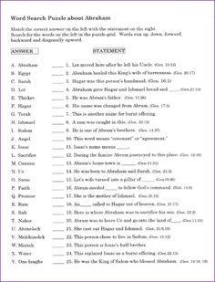 Printables Bible Worksheets For Youth bible words the ojays and search on pinterest teens word about abraham sarah kids korner biblewise