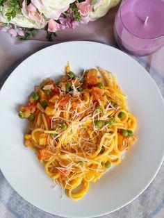 Dětem zdravě: Špagety s dýňovou omáčkou a zeleninou (vhodné od 1 roku)