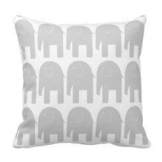 Gray Elephants Throw Pillows