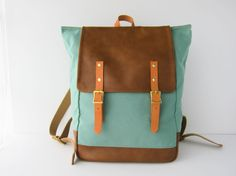 Backpack No.5  -- Seafoam Green canvas with Leather